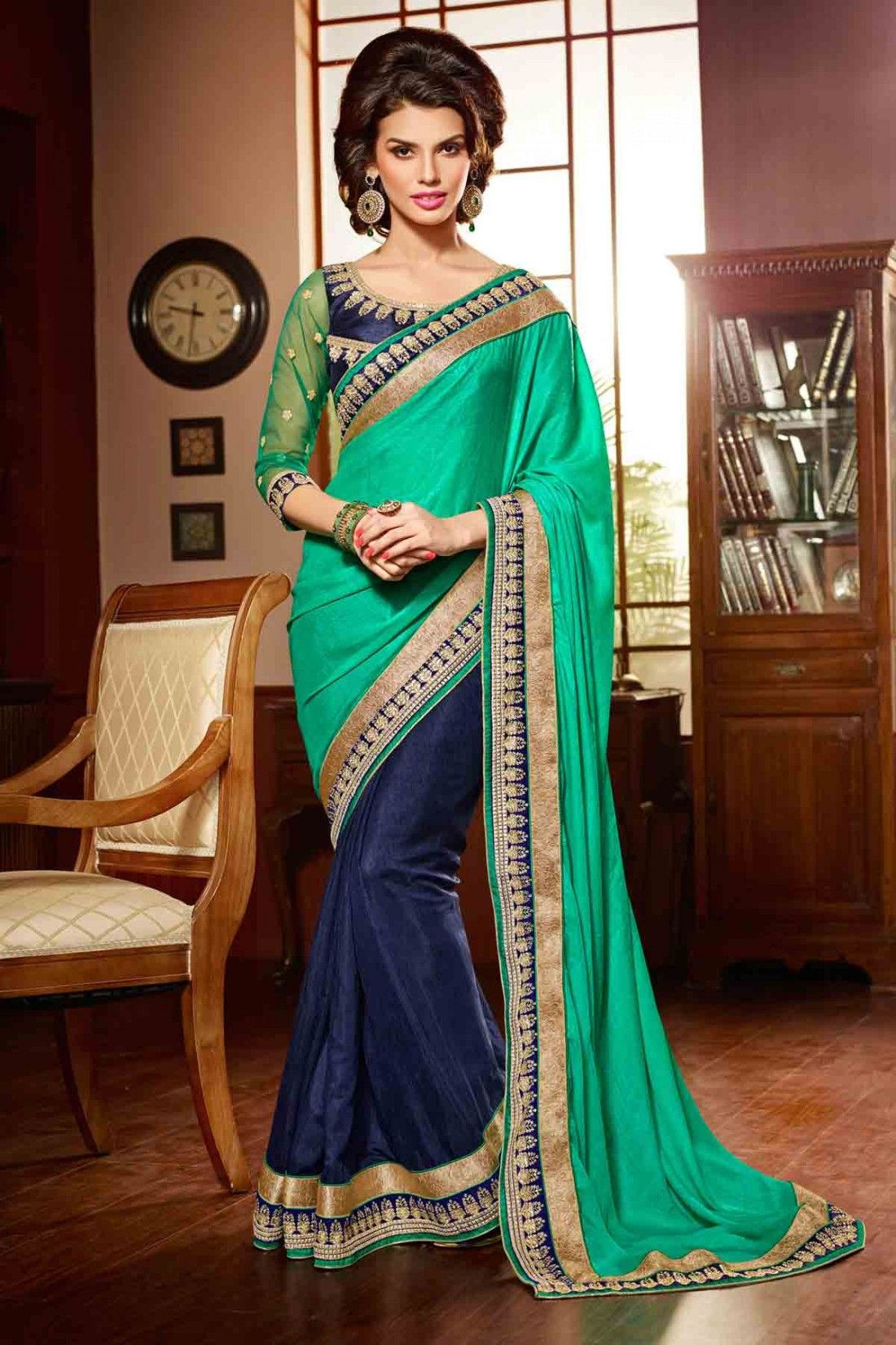 38142d4eaac53 Beautiful emerald green and navy blue saree with gold trim. | Green ...