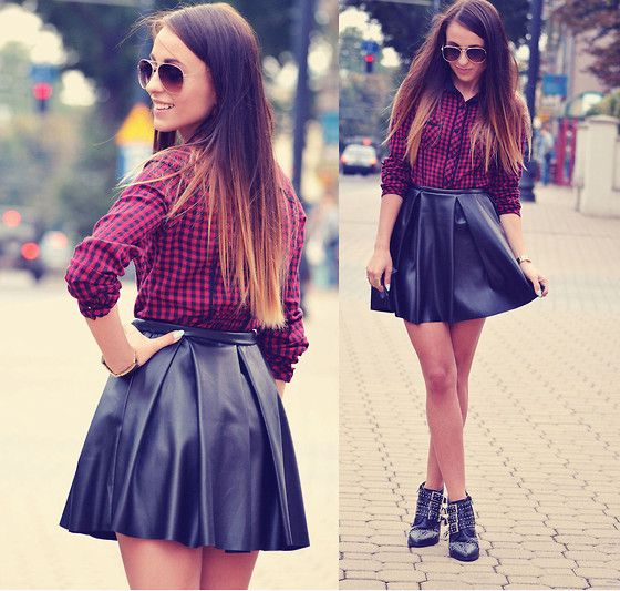 Ivon Skirt, Sh Shirt - Checked shirt and leather skirt - Zuza Str ...