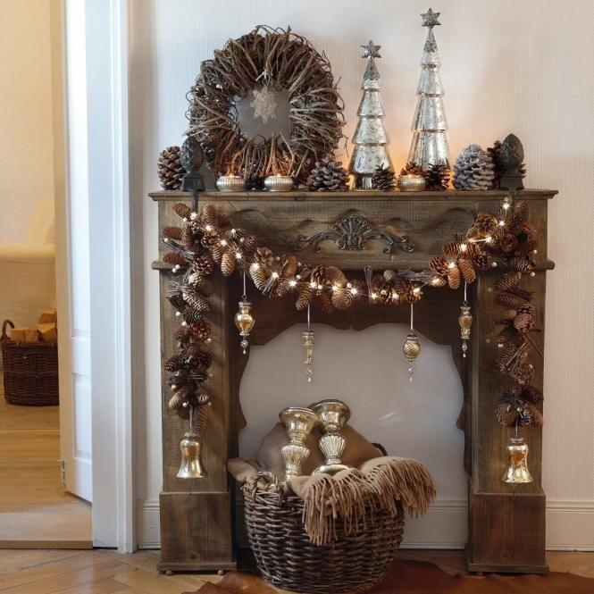 Tannengirlande charlotte dekokamin pinterest weihnachten kaminkonsole und dekoration - Deko kaminkonsole ...