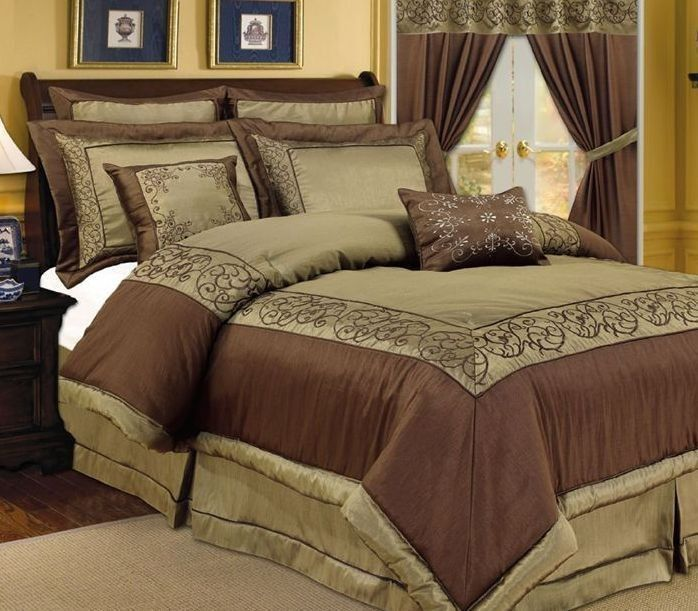 Pc Vana Sage Green Chocolate Brown Comforter Bedding Set Queen