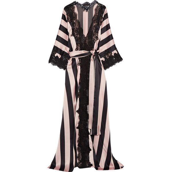 Rosamosario Amori Imprigionati lace-trimmed striped silk-satin robe  ( 1 eb7976f9c