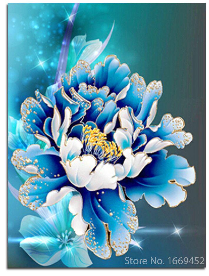 Diy Diamant Malerei Blume Pfingstrose Kreuzstich Voll Stickerei Blaue Pfingstrose Bild Strass Diamanten Muster Mo Bemalte Kreuze Wie Man Blumen Malt Idee Farbe