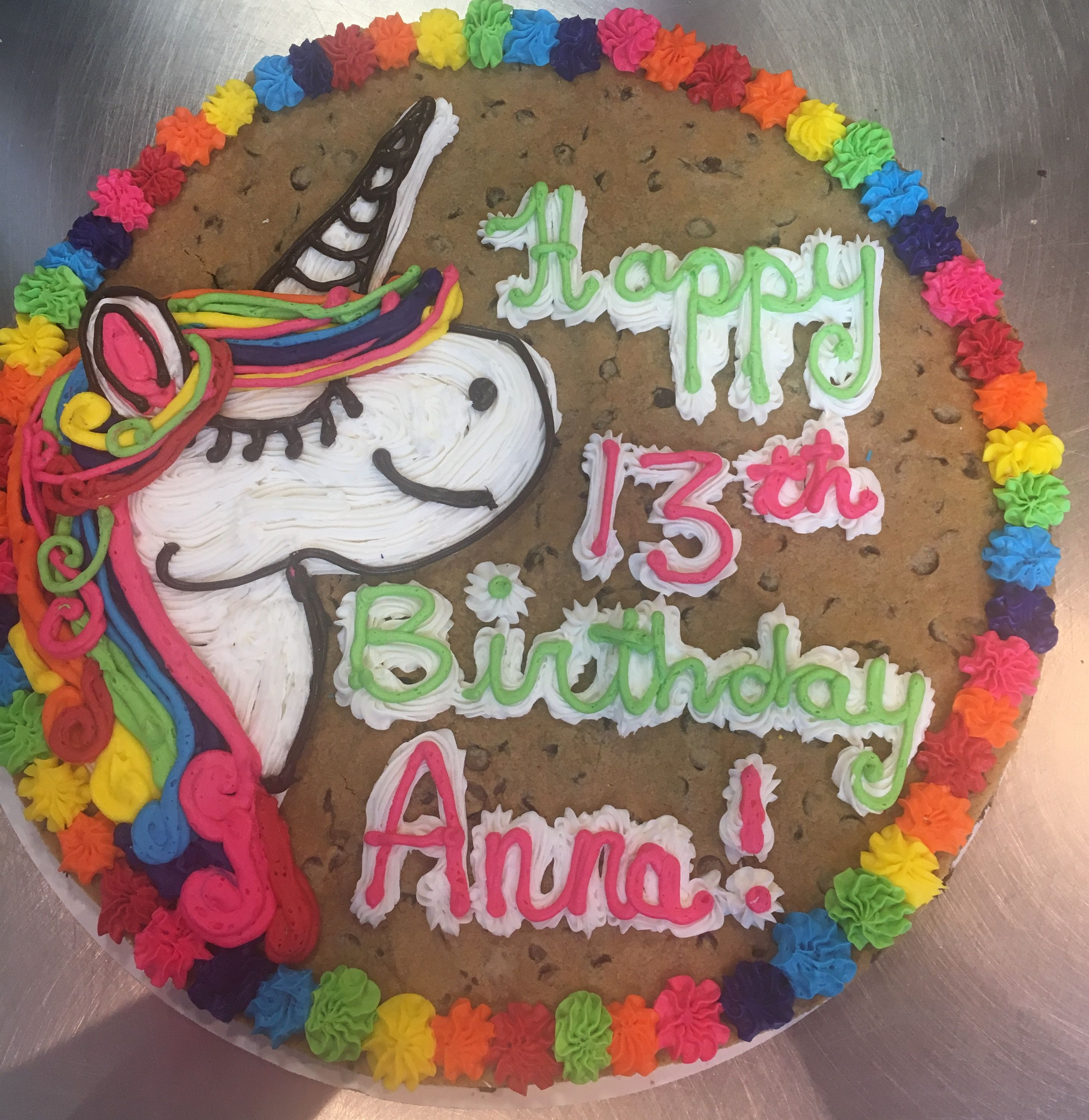 Adorable Rainbow Unicorn Cookie Cake From Great American Cookies