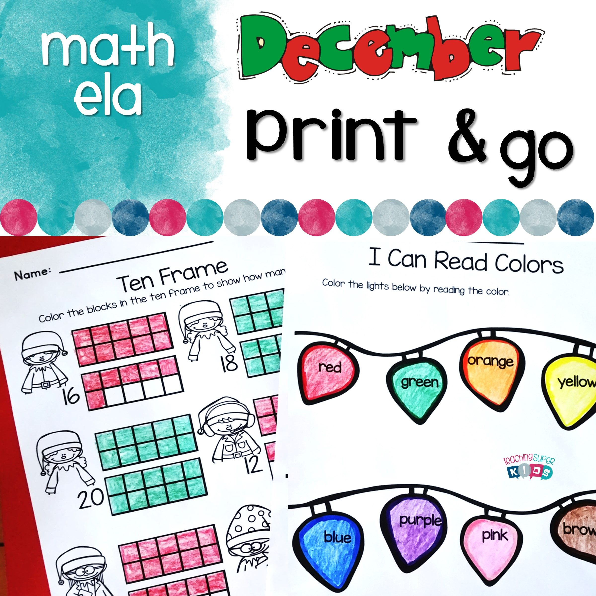 December Print And Go Activities From Teaching Superkids