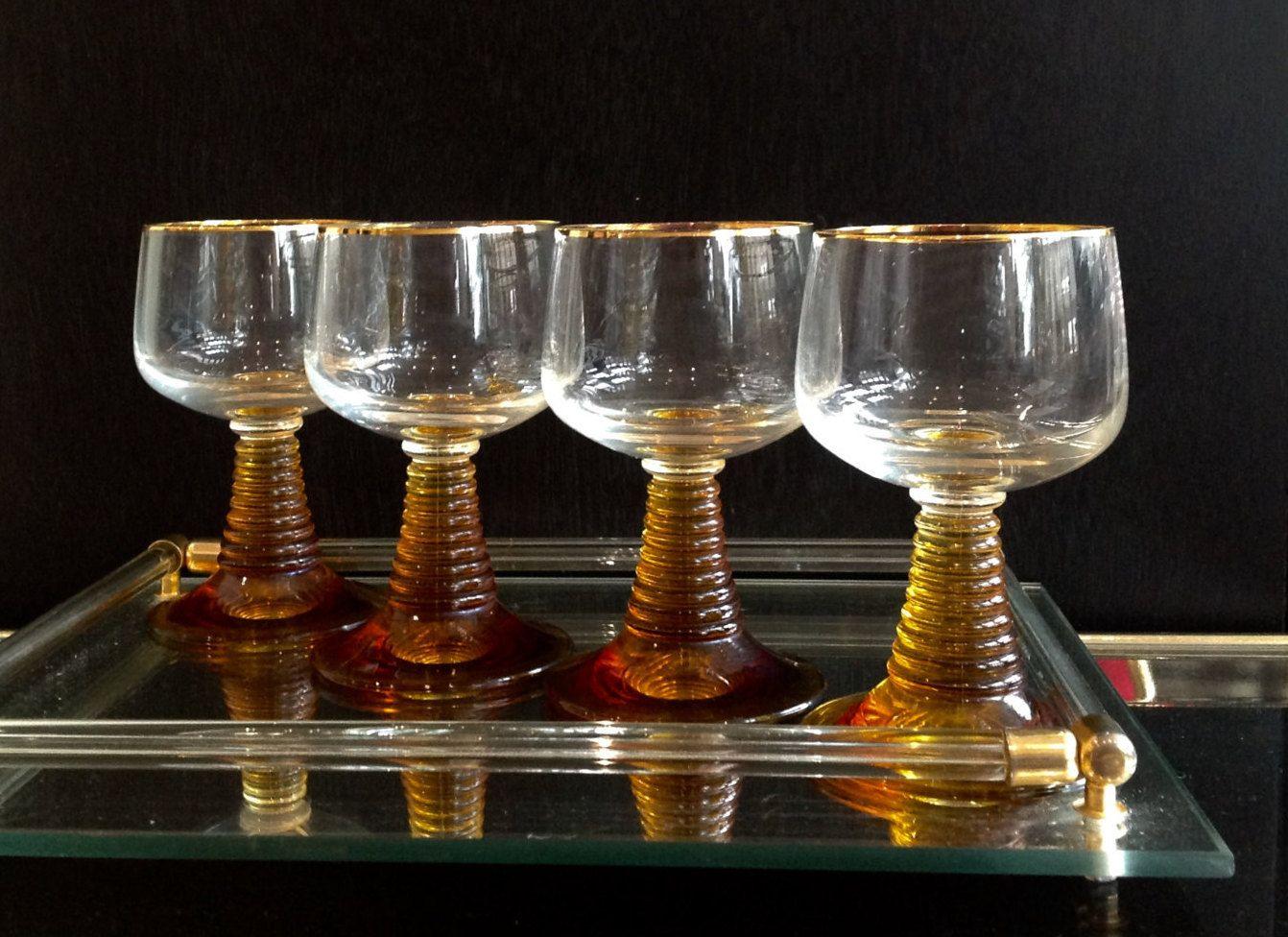 b271de1abf15 Vintage Roemer Wine Glasses - Schott Zwiesel Beehive Stem - Amber - Gold  Trim - Gold by VintageModernHip on Etsy