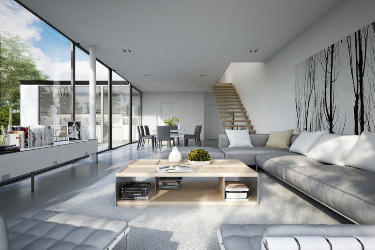 monochromes wohnzimmer in hellen grautnen mit bumen als wandbild - Haus Wohnzimmer Grose