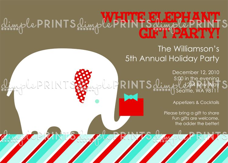 White Elephant Printable Holiday Party Invitation Holiday party - invitation wording for christmas dinner party
