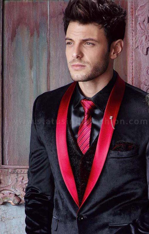 Mens Fashion Suit Wedding Suit Groom Reception Suits Black Velvet