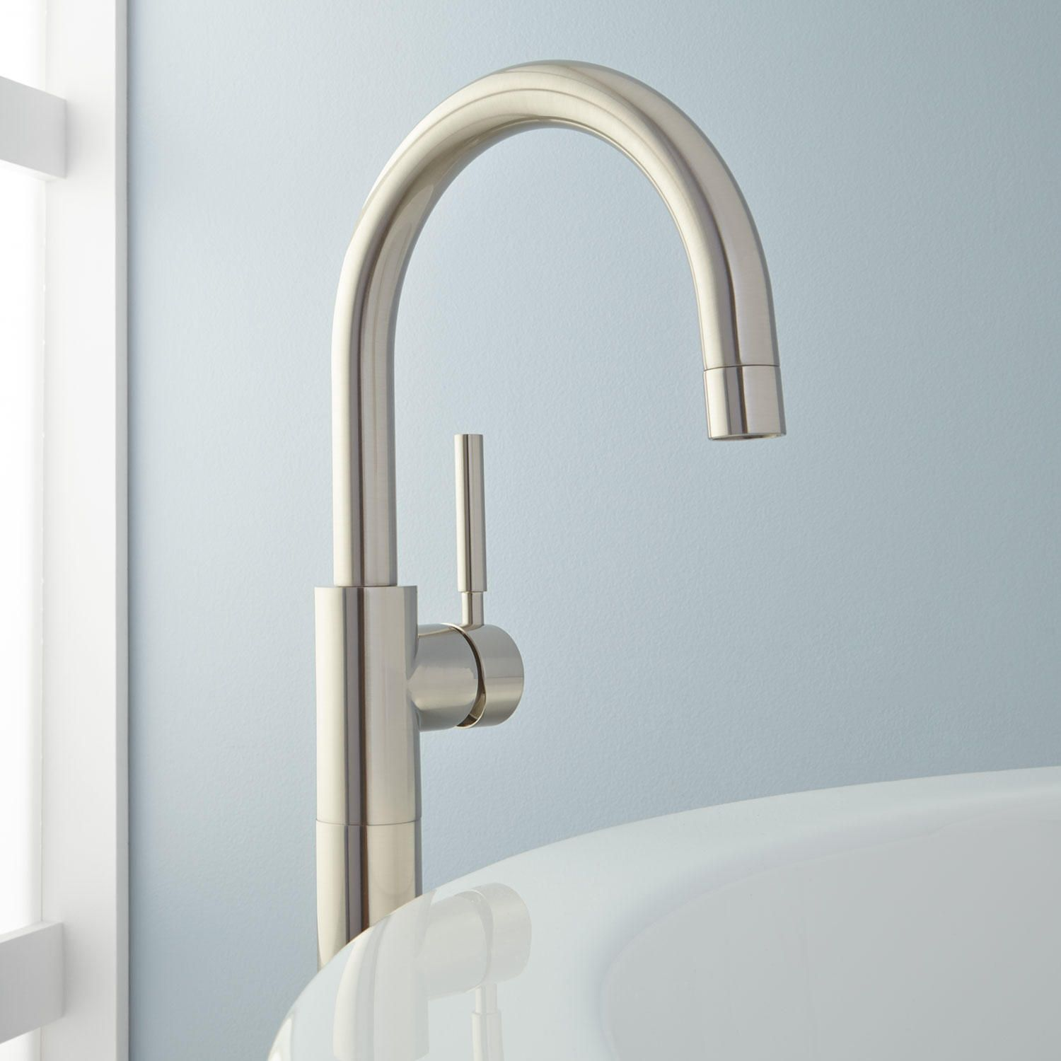 Simoni Gooseneck Freestanding Tub Faucet Brushed Nickel