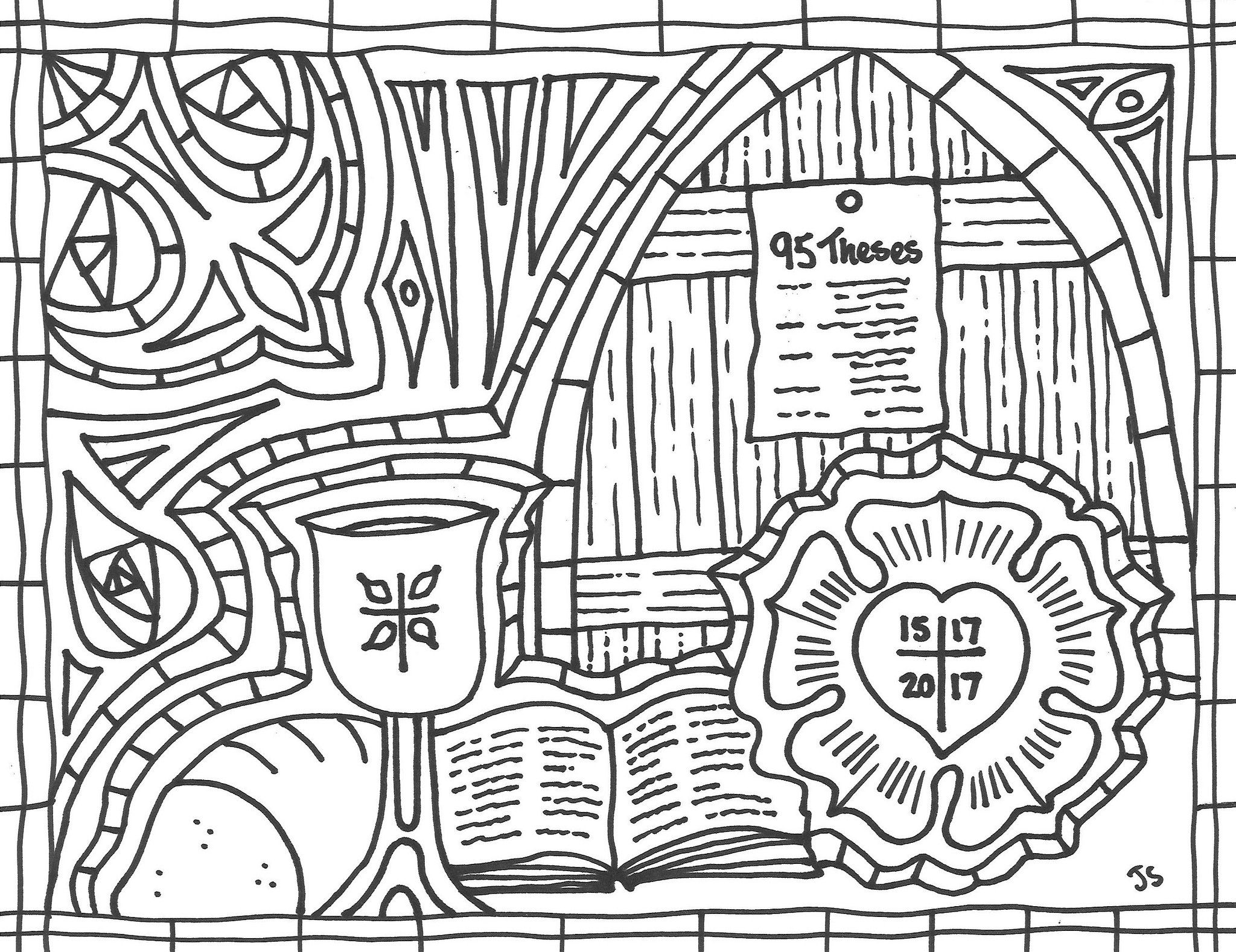 Reformation 500 Coloring Page Coloring Pages Rose Coloring