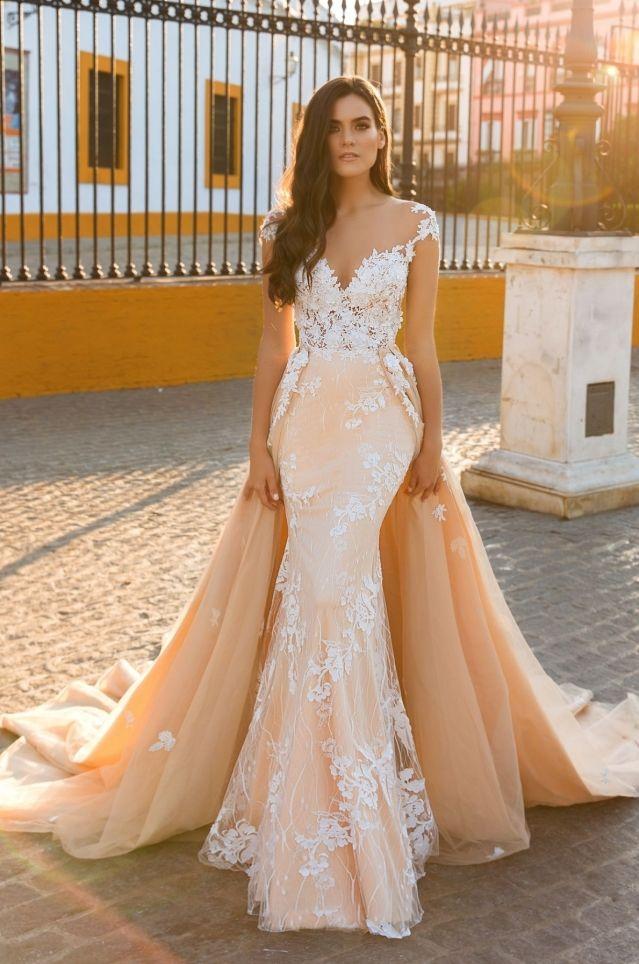 ef76f4ad83d8 2017 Sexy Mermaid Wedding Dresses Vestido De Noiva Cap Sleeves Illusion Back  Lace Applique Bride Gowns With Detachable Train