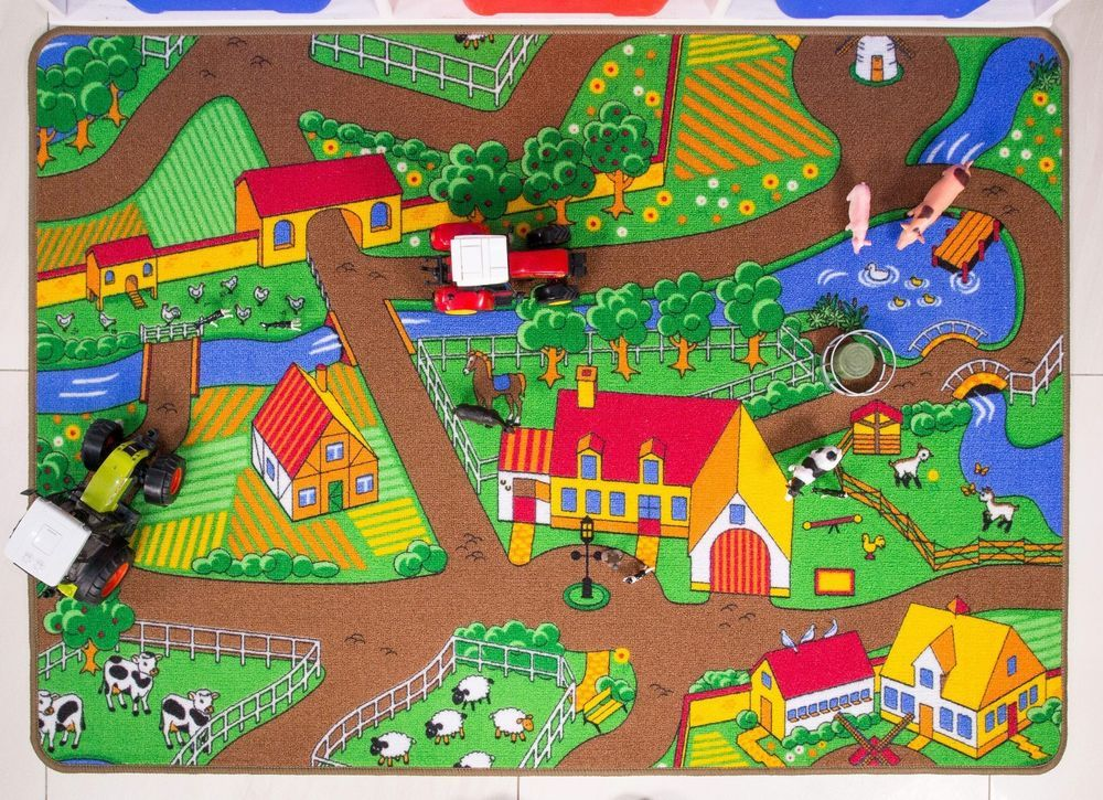Dining Room Rugs Childrens Farm Play Mat Green Tractor Mat Animals County Kids Play Rug Creche Uk