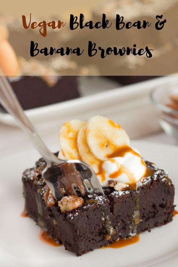 Vegane Brownies mit schwarzen Bohnen & Banane   Gesunde Brownies ohne Zucker
