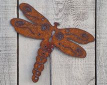 Dragonfly Garden Stake   Metal Art   Plasma Cut By Hand   Garden Decor    Metal