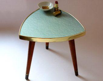 Blumenhocker / Beistelltisch / Hocker / kleiner Kaffeetisch /  50er 60er Germany / vintage / hellgrün / mint / marmoriert