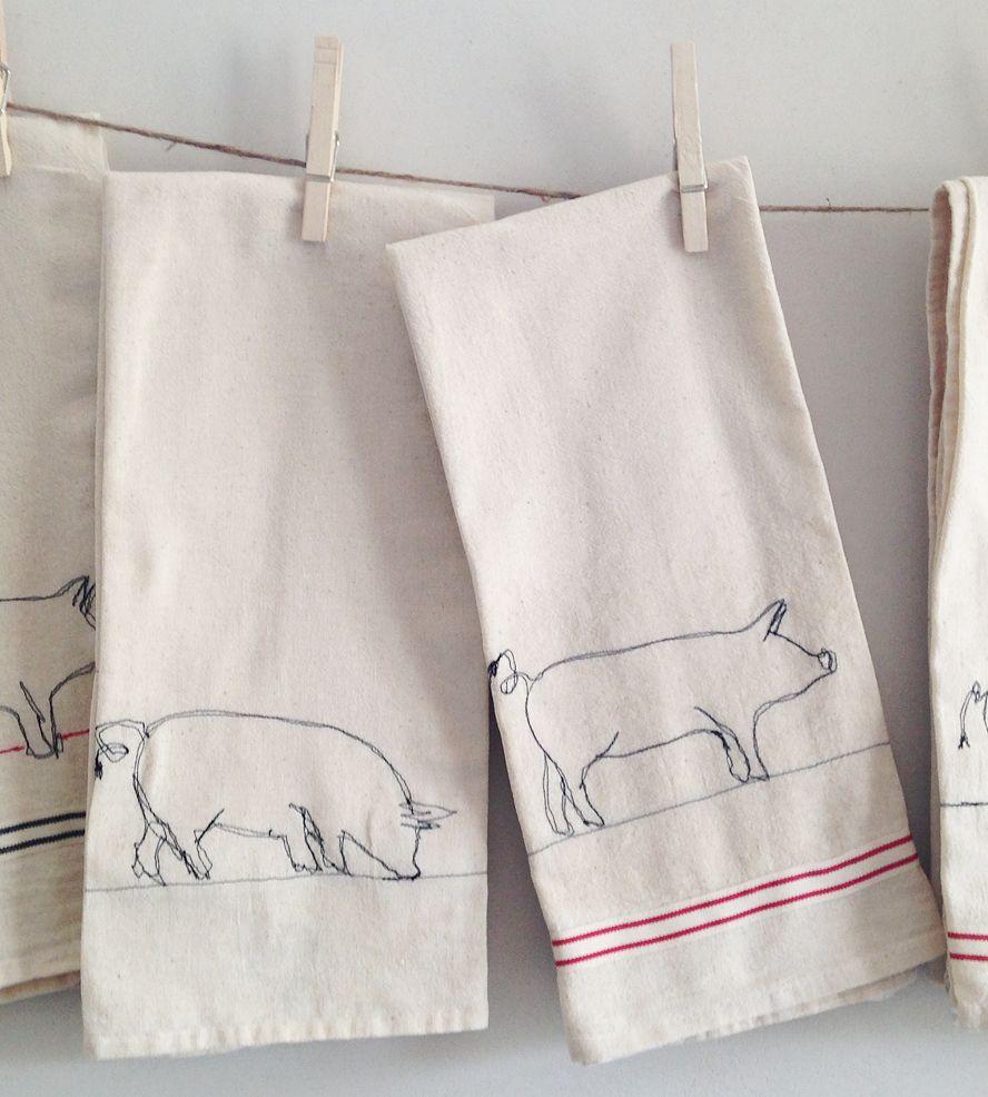 pig kitchen towels