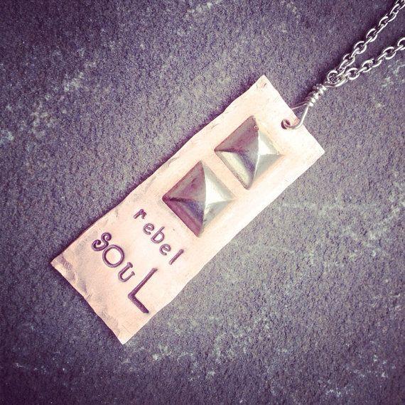 hand stamped rebel soul studded multi metal necklace  on Etsy, $25.00