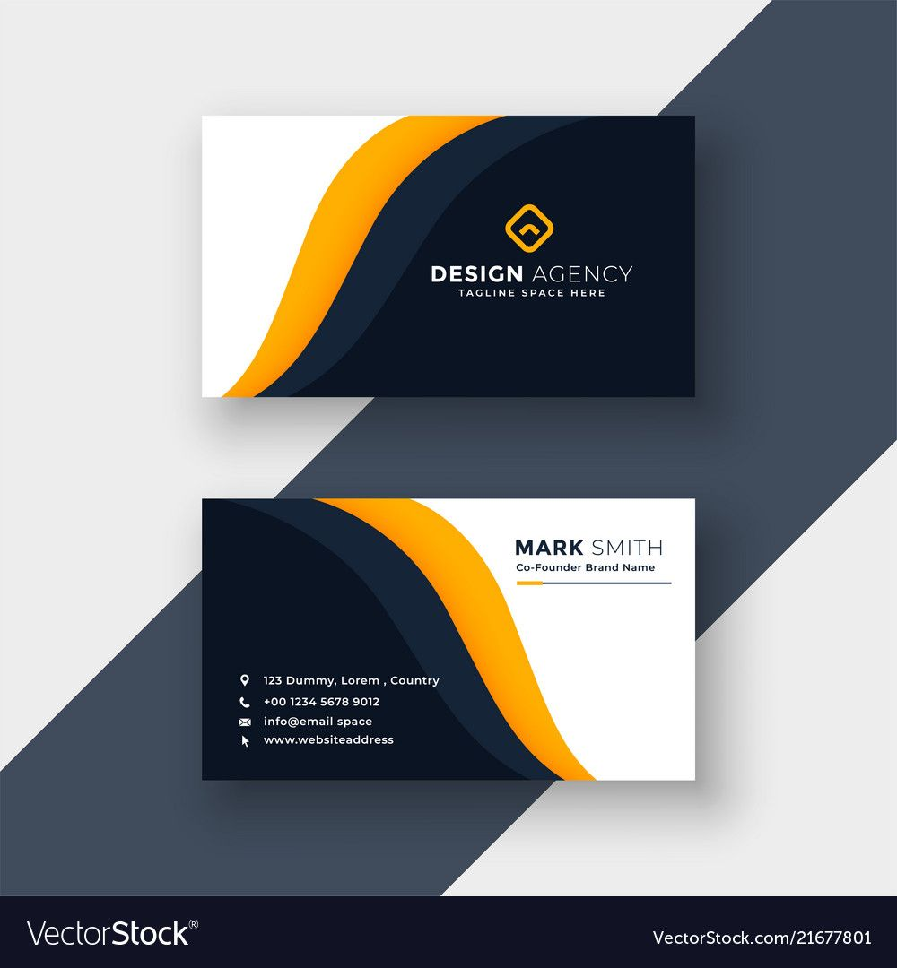 Awesome Yellow Business Card Template In Download Visiting Card Templates Visiting Card Templates Yellow Business Card Business Cards Vector Templates
