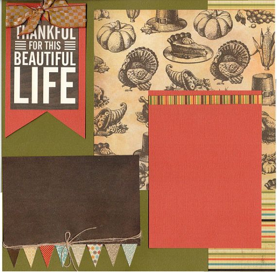 2 page Scrapbooking Page kit  So Thankful for by CropALatteToGo #scrapbooking