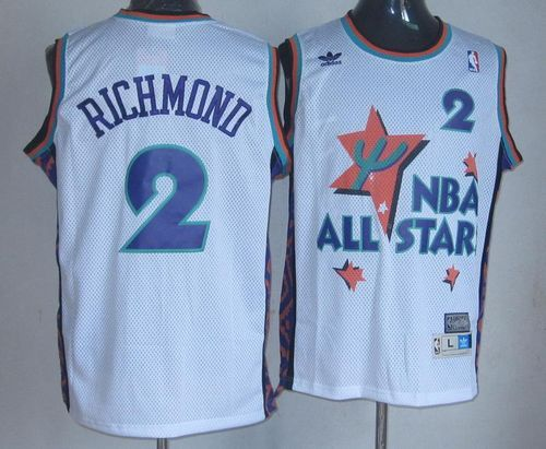 29dcae19978d Kings  2 Mitch Richmond White 1995 All Star Throwback Embroidered NBA Jersey!  Only  22.50USD