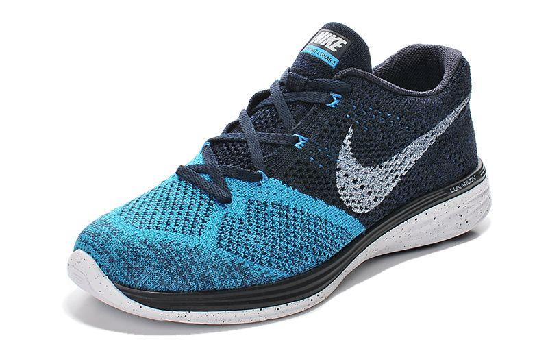 5e56dda910e0 Nike Flyknit Lunar 3 Mens Dark Blue White
