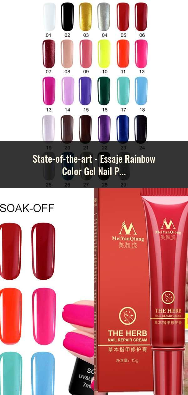 Essaje Rainbow Color Gel Nail Polish Glitter Neon Gel Lacquer For