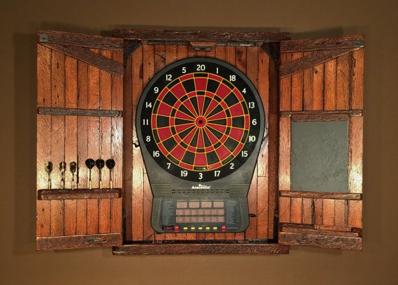 Rustic Large Electronic Dartboard Cabinet With Chalkboard Home And Living Made To Order Barn Wood Reclaimed Barn Wood Dart Board Cabinet