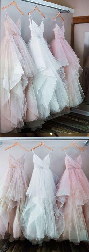 Custom made A line tulle ruffled long prom dresses, evening dresses – trendty