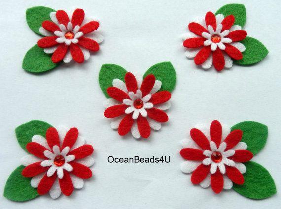 10 felt red white flower applique fieltro felt flower