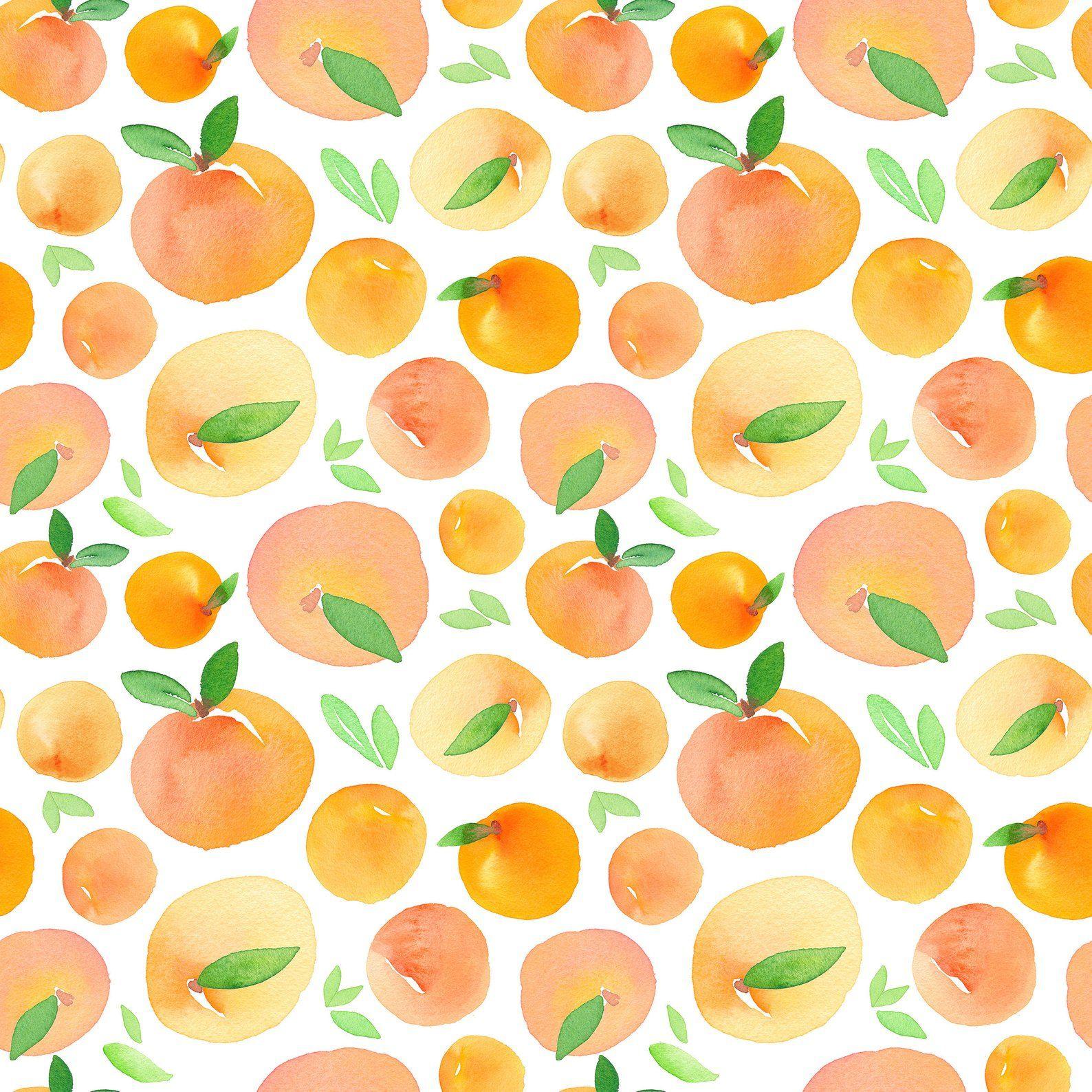 Orange Wallpaper Fresh Watercolor Wall paper Self Adhesive