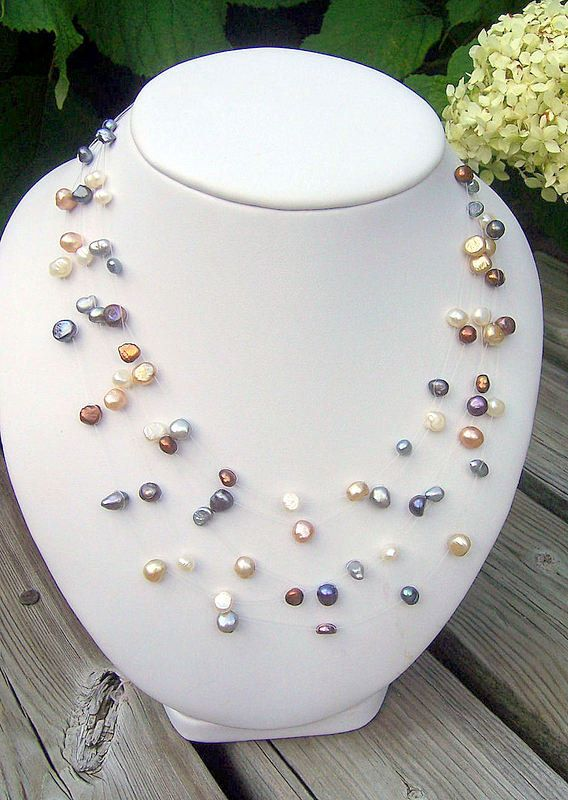Pearl illusion necklace floating pearl necklace wedding necklace five strand pearl Illusion necklace