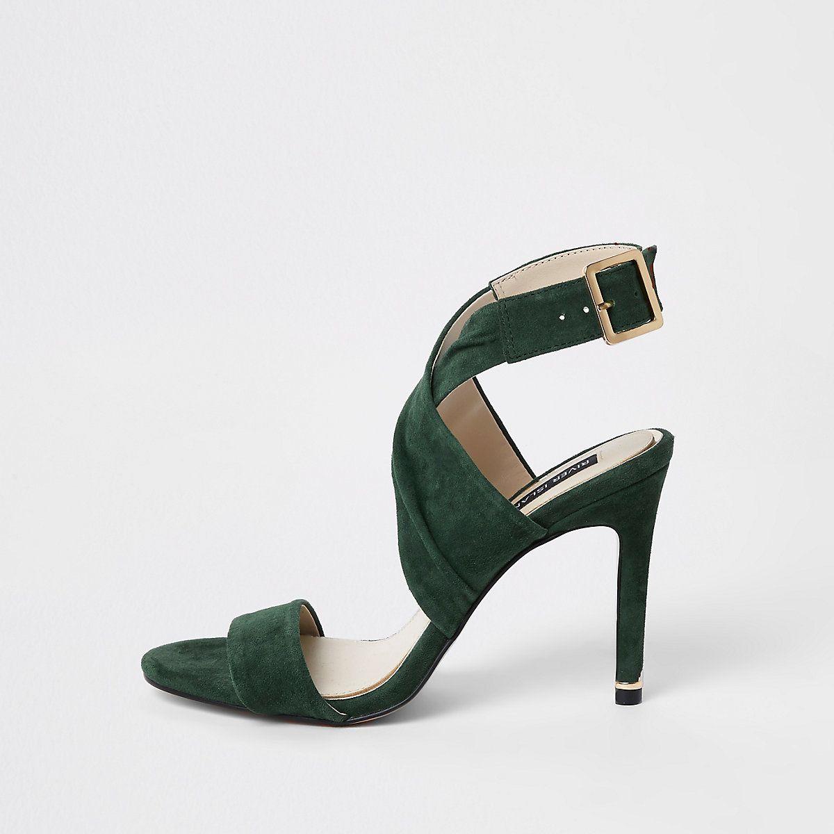 Dark green wrap leather skinny heel