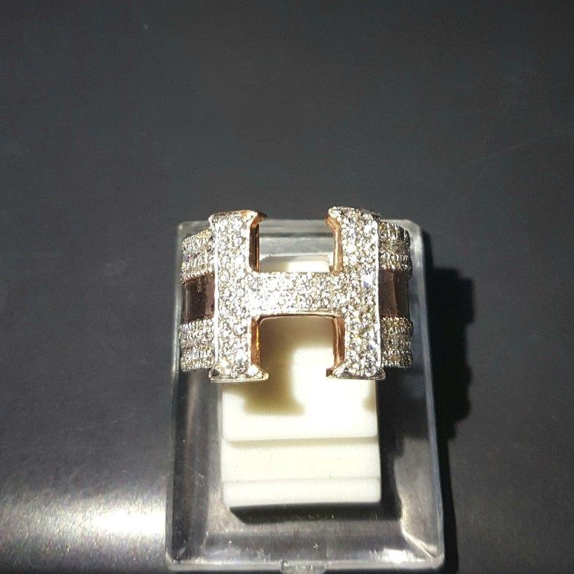 Cincin Emas Berlian Mode Huruf H Harga Promo Toko Perhiasan