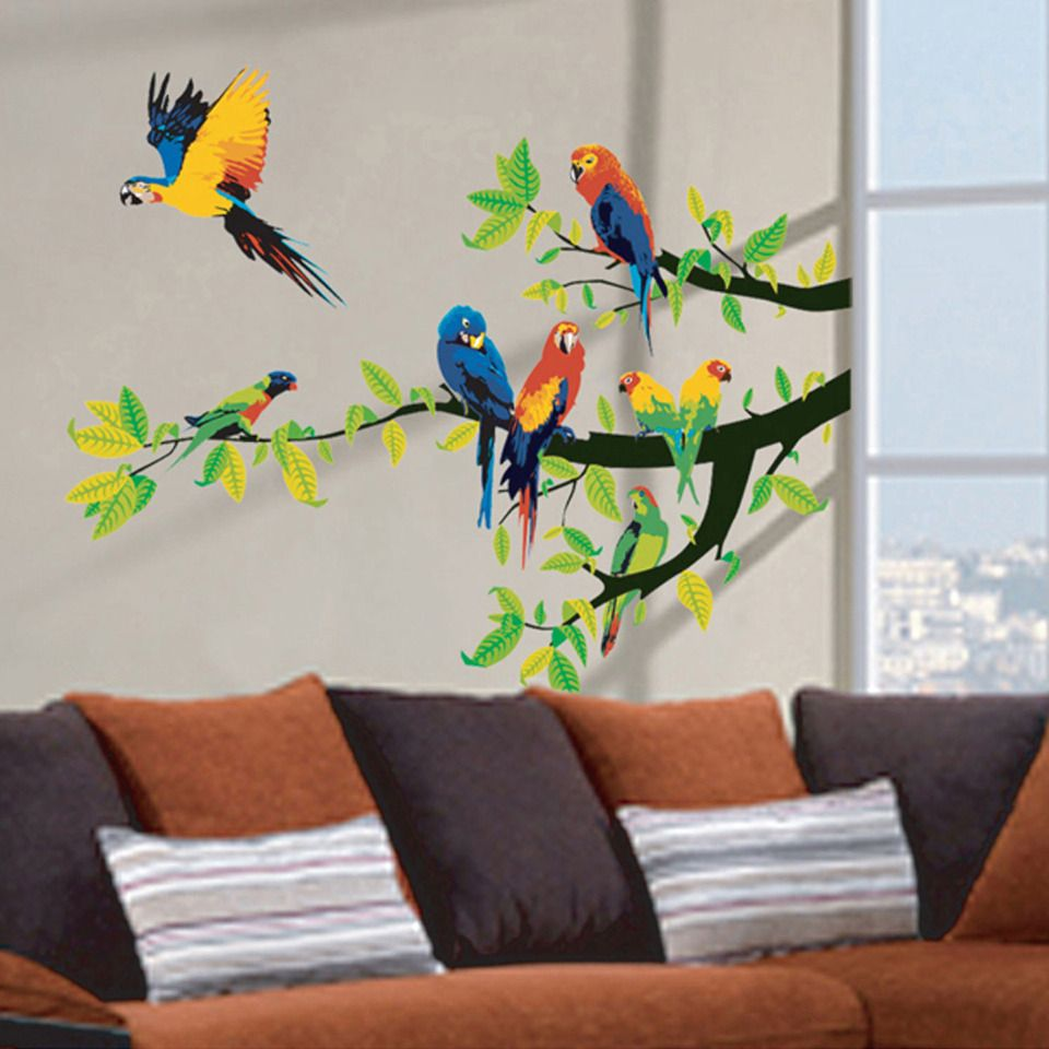 Art Applique By Kmg Parrots Decorative Wall Decal Must Have For