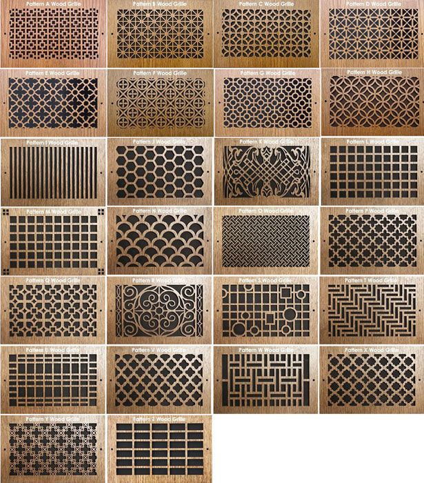 Pattern cut wood grills for sliding above storeage doors for Design patterns of doors