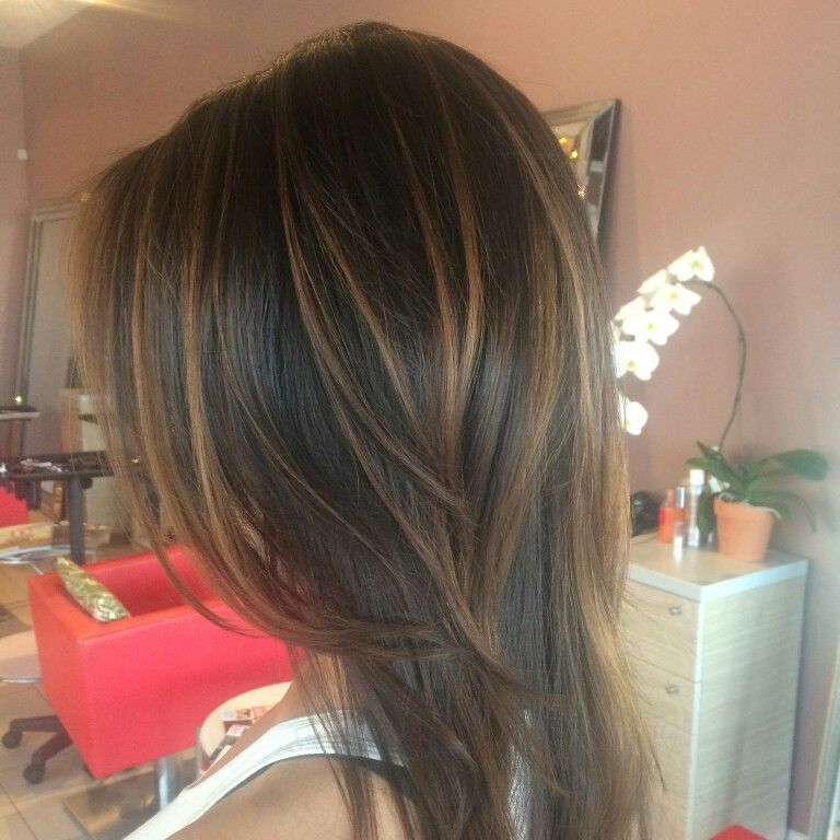 Caramel Balayagd On Dark Brown Hair Balayage Ombre Foliage Sombre