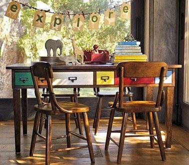 Bureau chambre ado plateau bois et 6 tiroirs couleurs Bar grill