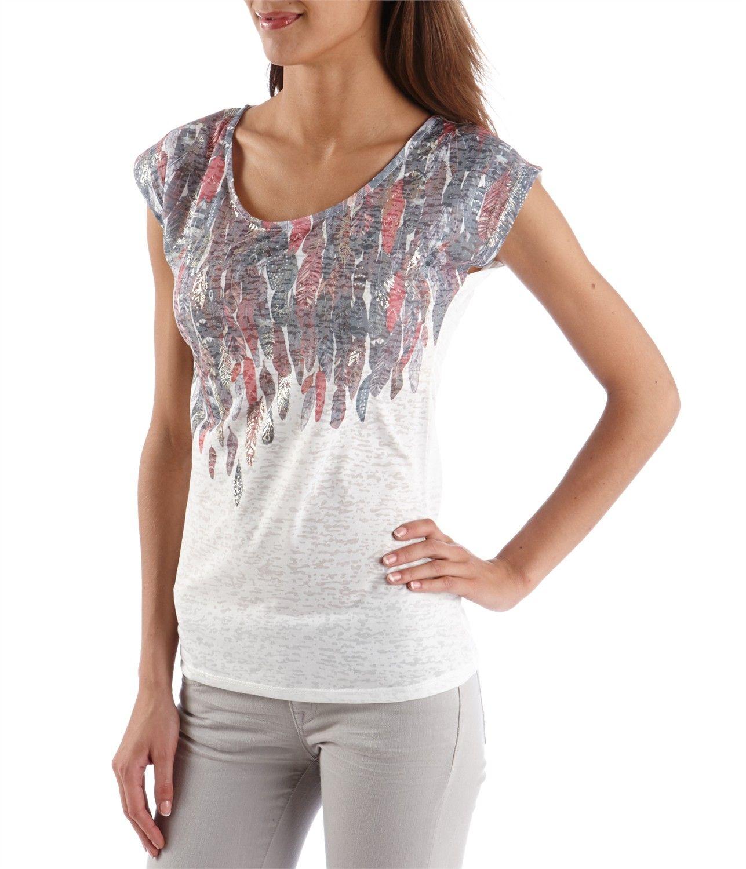 43511b7546f CAMAIEU – T-shirt femme motif plumes brillant