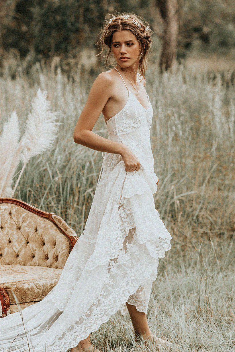 Isabell Andreeva Wears Spell Bride Canyon Moon Mesh Gown Boho Bridal Dress Wedding Dresses Lace Wedding Dresses
