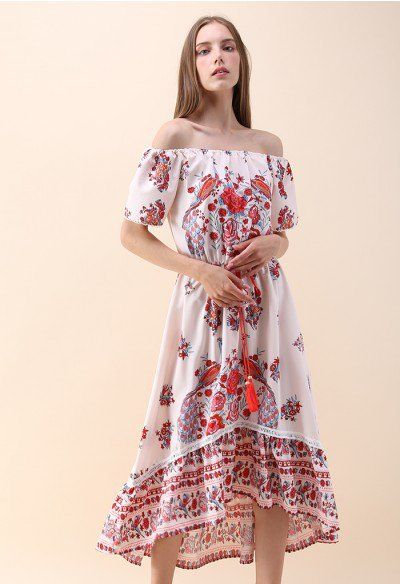 07deec9e597 Free My Heart Boho Off-Shoulder Embroidered Midi Dress in Blue - Party -  DRESS - Retro