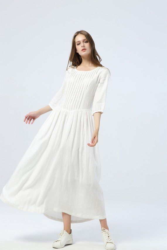Photo of long white dress, summer linen dress for womens – loose & casual dress, elbow sleeve dress with pleats, fashion oversized long dress C1285.