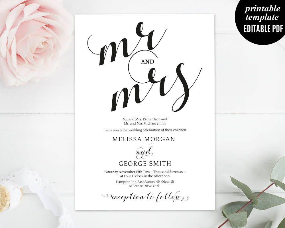 Wedding Invitation Template - Printable Wedding Invitation Set, RSVP ...
