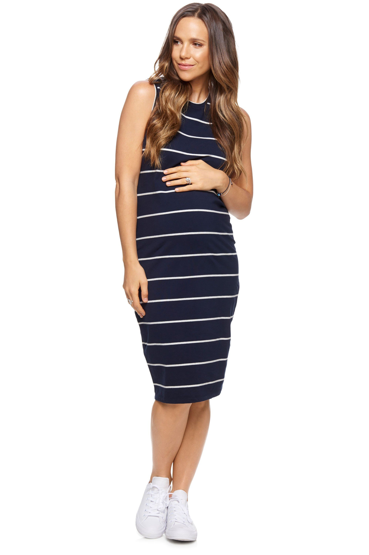 90215ac80de0f Maternity Stripe Midi Dress - Ever After Sleeveless Dress – BAE The Label  Australia