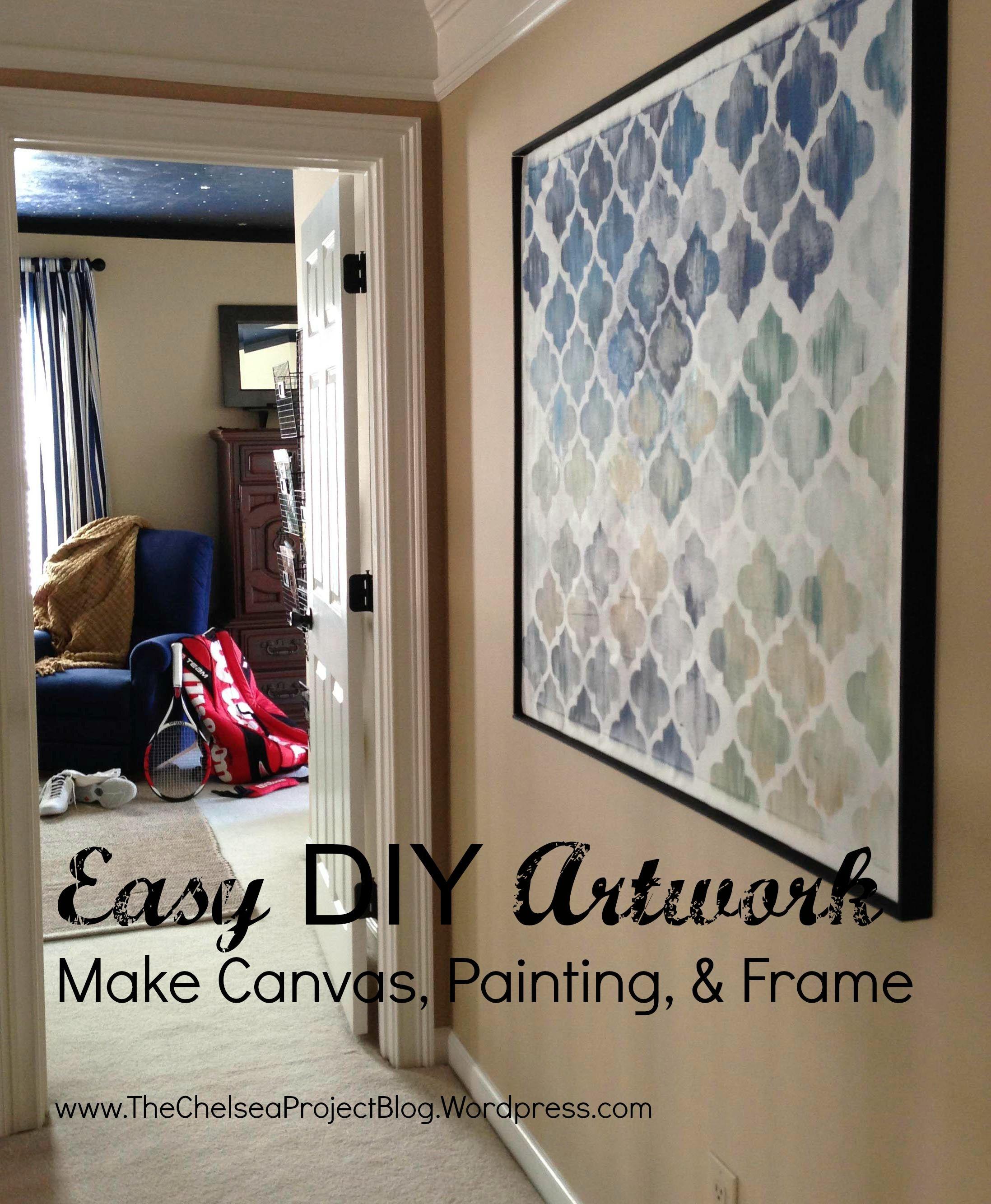 Diy artwork make canvas painting and frame diy