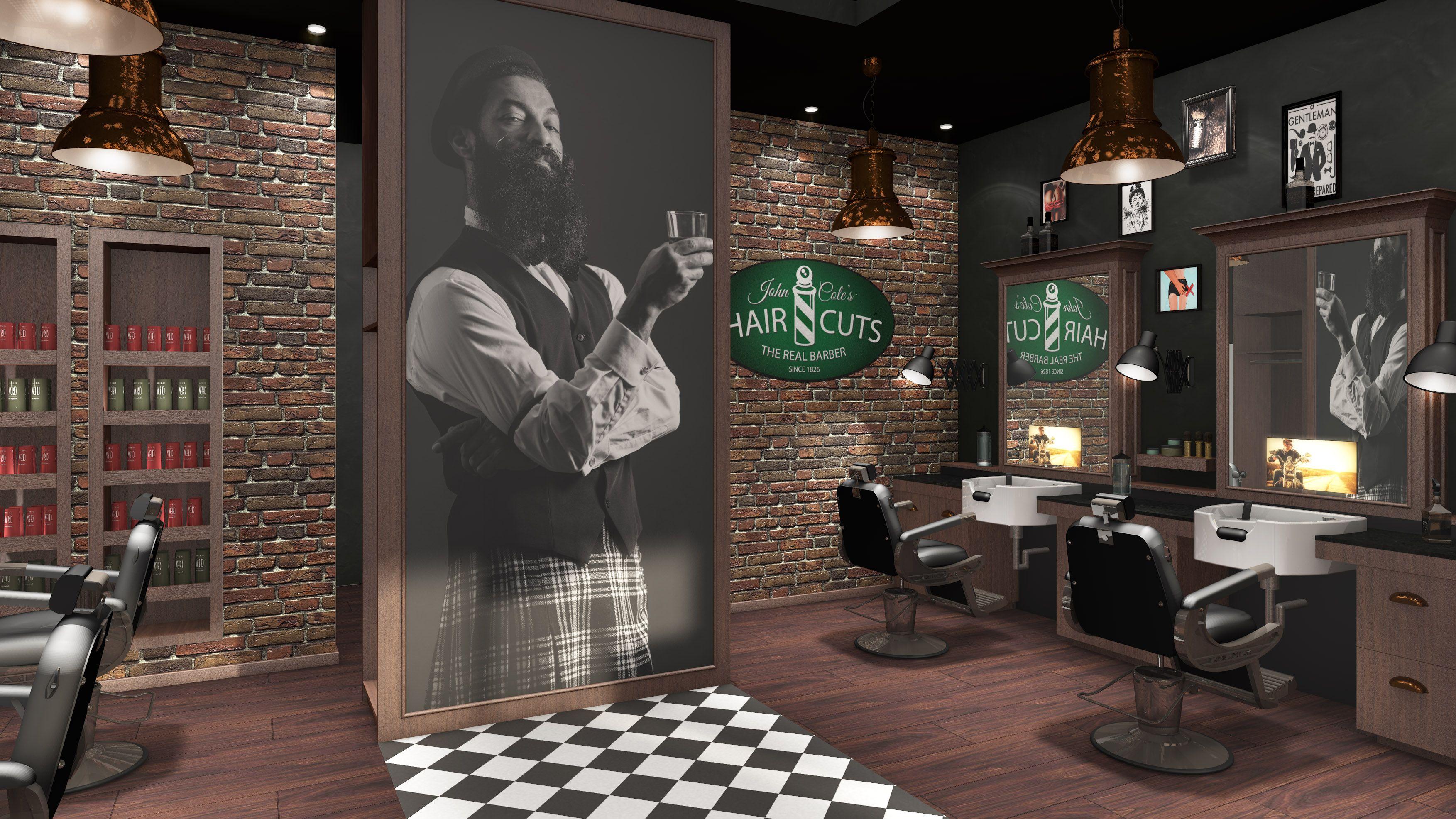 3D Salonkonzept von IDEA-Friseureinrichtungen Barbershop ...