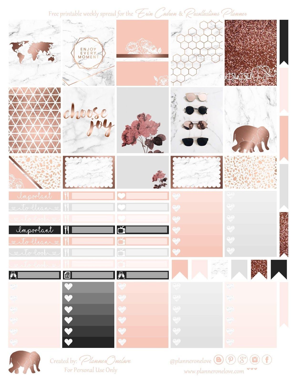 Free Marble & Rose Gold printable for Erin Condren ...