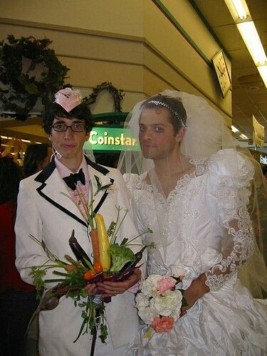 Misha and his wife renewing their wedding vows