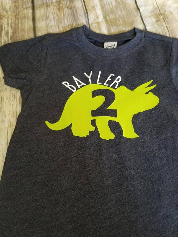 Dinosaur Birthday Shirt Party Toddler Boys Shirts Personalized