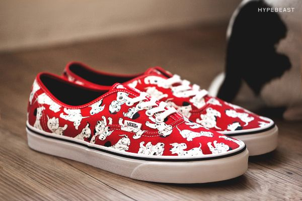 womens vans red disney authentic dalmatians trainers nz