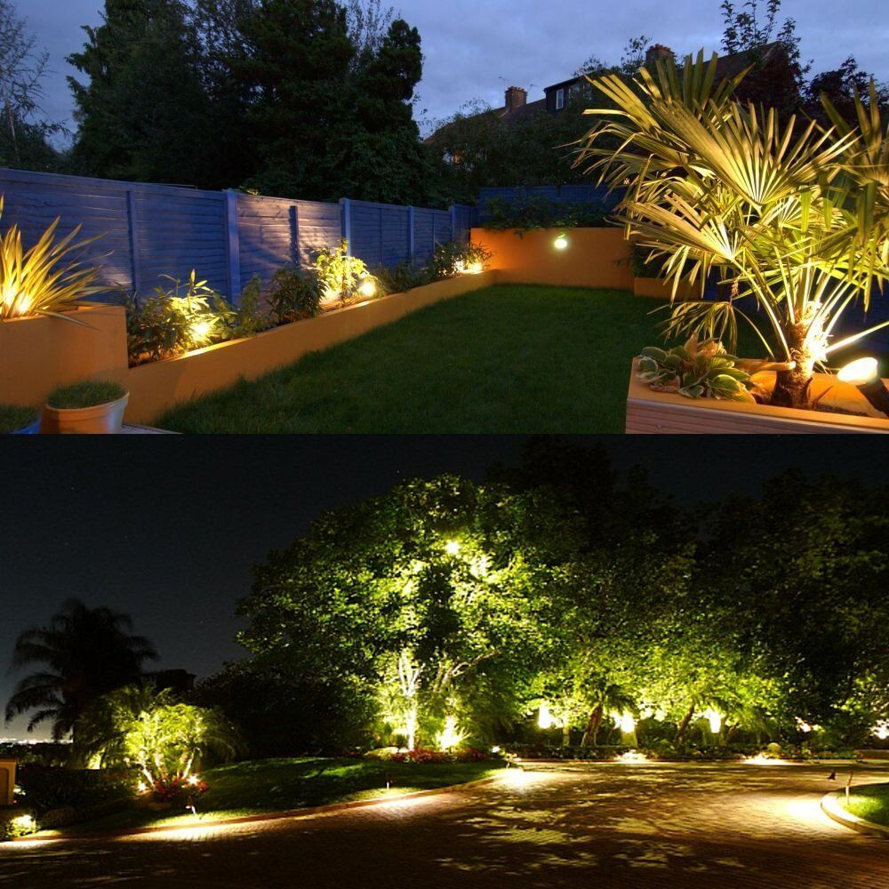 Zuckeo 5w Led Landscape Lights 12v 24v Waterproof Garden Path Lights Warm White Walls Trees Flags Outdoor Spotlights With Spike Stand 8 Pack Landscape Lighting Garden Path Lighting Landscape Lighting Kits